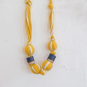 Large Vintage Fabric Necklace in Yellow
