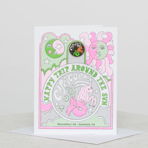 Capricorn Riso Card W/ Magnetic Lapel Pin - individual-medley