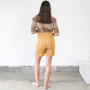 Pleated Knit Short in Maize
