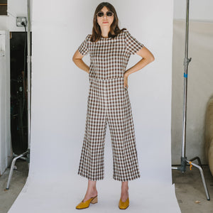 Milo Jumpsuit in Brown Gingham - individual-medley