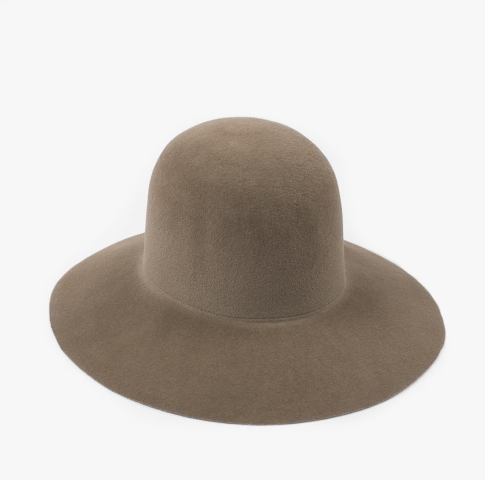 Wide Brim Dome Hat in Mink