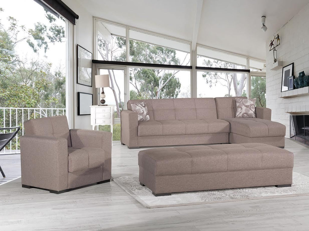 Mystic Brown Convertible Sectional