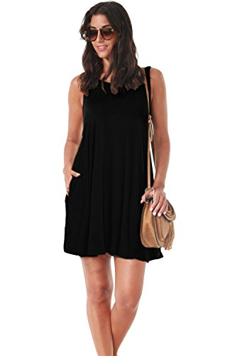 975aff8c280bc ... AUSELILY Women s Sleeveless Pockets Casual Swing T-Shirt Dresses ...