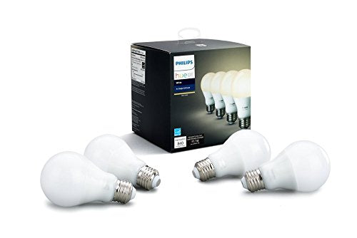 Philips Hue White A19 4-Pack 60W Equivalent Dimmable LED Smart Bulb (4 A19 60W White Bulbs, Compatible with Amazon Alexa, Apple HomeKit and Google Assistant)