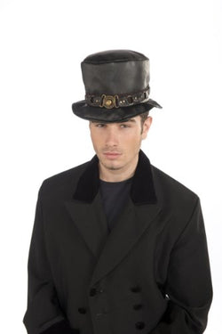 Rubie's Steampunk Short Top Hat With Belt and Brass Buckle, Black, One Size