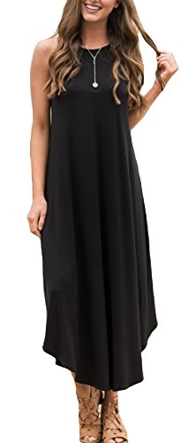 ETCYY Women's Summer Casual Stripe Sleeveless Loose Beach Maxi Dress,Black,Medium