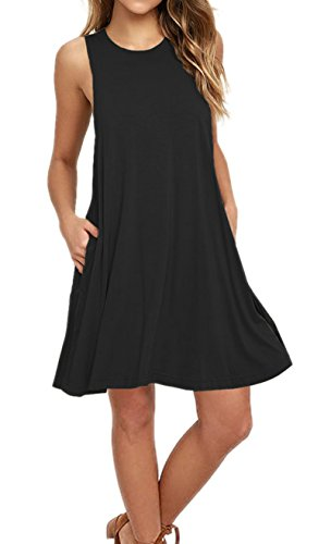 AUSELILY Women's Summer Sleeveless Pocket Casual Loose T-Shirt Dress Tank Dresses