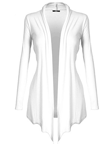 DRSKIN Women's Open - Front Long Sleeve Knit Cardigan (Cardigan White, M)