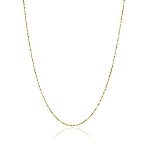 18K Gold over Sterling Silver .8mm Thin Italian Box Chain Necklace - 18