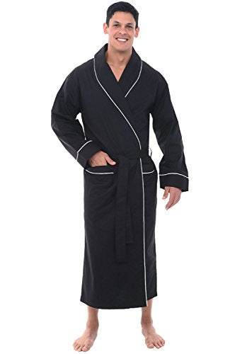 Alexander Del Rossa Mens Cotton Robe, Lightweight Woven Bathrobe, 2XL Black (A0715BLK2X)