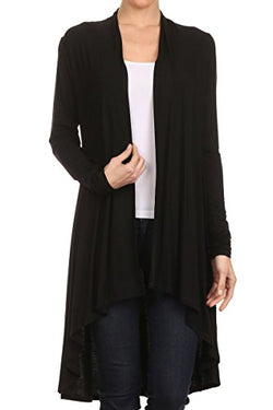 ReneeC. Women's Natural Bamboo Solid Open Front Draped Cardigan - Made In USA (X-Large, Black)