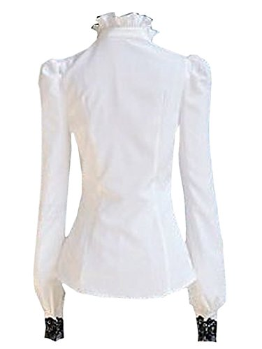 b98e17e8c0b Choies Women's Vintage White With Black Lace Stand-Up Collar Puff Long  Sleeve Shirt ...