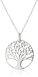 Sterling Silver Tree of Life Disk Chain Pendant Necklace, 18""