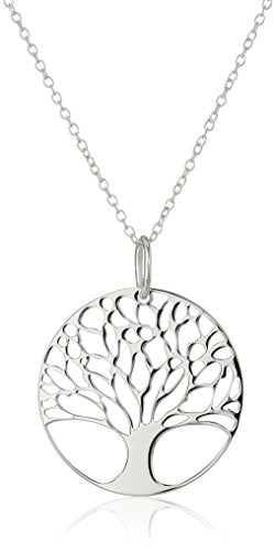 Sterling Silver Tree of Life Disk Chain Pendant Necklace, 18