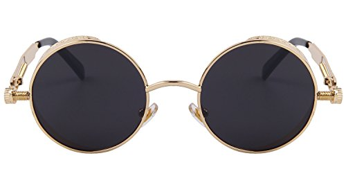 8d43805622ed ... MERRY S Gothic Steampunk Sunglasses for Women Men Round Lens Metal  Frame S567(Gold Black