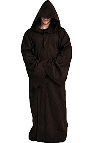 Cosplaysky Star Wars Jedi Robe Costume Adult Hooded Cloak Brown XX-Large