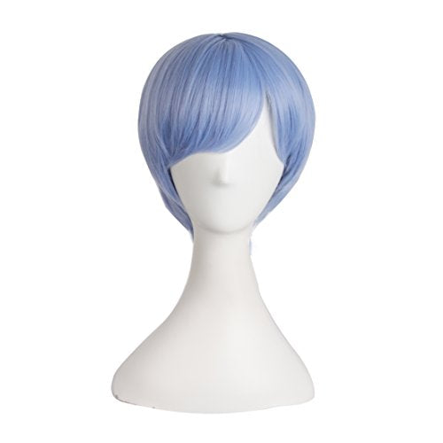 MapofBeauty Fashion Short Straight Cosplay Costume Wig (Mixed Blue)