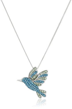 Sterling Silver Blue Mix Humming Bird with Swarovski Elements Pendant Necklace, 18