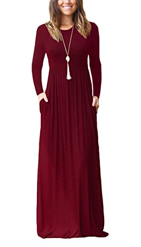 DEARCASE Women's Long Sleeve Casual Loose Pocket Maxi Party Long Dresses Wine Red X-Large