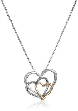 Sterling Silver and 14k Rose Gold Diamond Accent Triple Heart Pendant Necklace,18