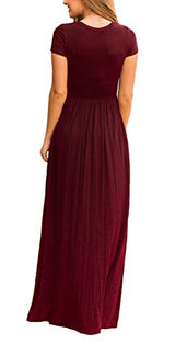 DEARCASE Women's Short Sleeve Casual Loose Pocket Maxi Party Long Dresses Wine Red XX-Large