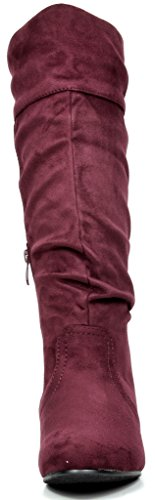 DREAM PAIRS Women's BLVD Burgundy Knee High Pull On Fall Weather Boots Size 8.5 M US