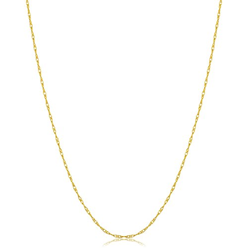 Solid 14k Yellow Gold Delicate Rope Chain Necklace (0.7mm, 18 inch)
