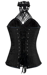 Charmian Women's Steampunk Goth Halter Faux Leather Steel Boned Bustier Corset Black XX-Large