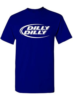 Manateez Men's Budlight Dilly Dilly Commercial Tee Shirt Large Royal