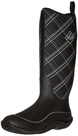 Muck Boots Hale Multi-Season Women's Rubber Boot, Black/Gray Plaid, 8 M US