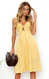 ECOWISH Womens Dresses Summer Tie Front V-Neck Spaghetti Strap Button Down A-Line Backless Swing Midi Dress Yellow S