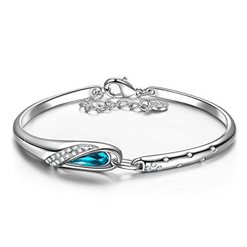 QIANSE Christmas Gifts Idea For Mom Women Bangle Bracelets Blue Swarovski Crystal