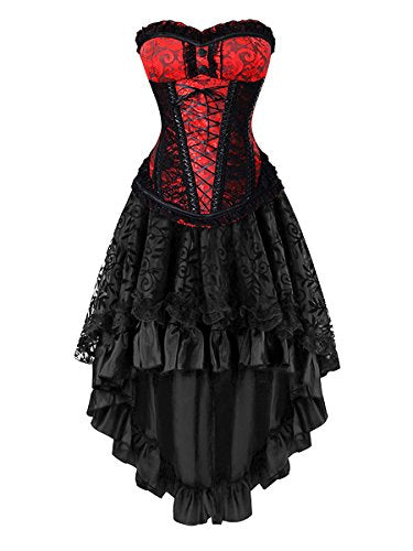 6fee81485a Killreal Women s Gorgeous Theme Party Gothic Steampunk Masquerade Ball  Costume Dress Set Red Black Large