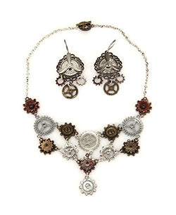 elope Multi Gear Steampunk Necklace And Earring Set