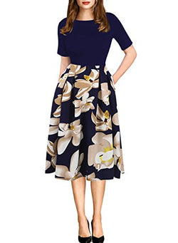 oxiuly Women's Patchwork Foral Pockets Puffy Swing Casual Party Dress OX165 (L, Blue + White)