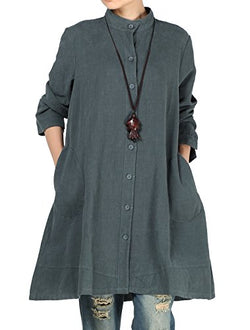 Mordenmiss Women's Cotton Linen Full Front Buttons Jacket Outfit Pockets Style 1 XL Dark Green