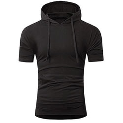 Hot Sale!!ZYooh Hooded Pullover Men's Short Sleeves Shirt,Fashion Sling Design Casual Slim Male Dress Shirt Blouse (L, Black)