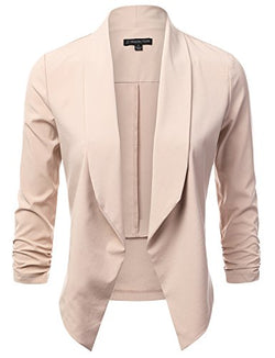 JJ Perfection Women's Lightweight Chiffon Ruched Sleeve Open-Front Blazer Beige M