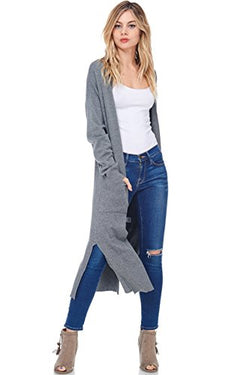 AD Womens Casual Longline Knit Cardigan Sweater W Side Slit (Charcoal, Small/Medium)