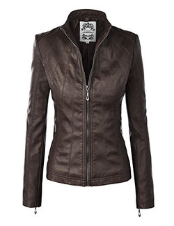 WJC877 Womens Panelled Faux Leather Moto Jacket M COFFEE