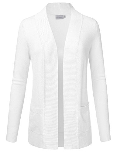 JJ Perfection Women's Open Front Knit Long Sleeve Pockets Sweater Cardigan, Awocal0212-white, Medium