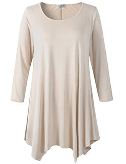 LARACE Women Plus Size 3/4 Sleeve Tunic Tops Loose Basic Shirt(2X, Beige)