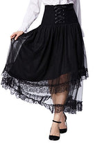 Belle Poque Women's Steampunk Lolita Corset Skirt Gothic A Line Skirt High Waist Black BP503-1 S/M