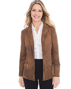 Chico's Women's Sueded Lace-Up Sleeve Jacket Size 8/10 M (1) Brown