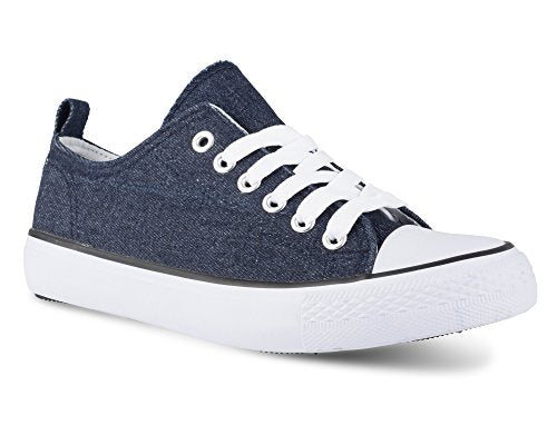 Twisted Women's KIX Lo-Top Casual Fashion Sneaker -KIXLOS Denim, Size 6