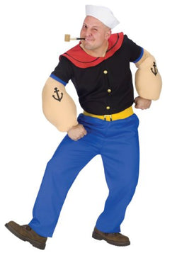 Fun World Popeye Adult Costume,Black/Blue/Red,X-Large
