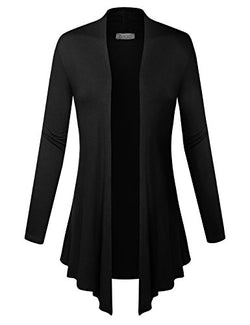 BIADANI Women Open Front Lightweight Cardigan Black Medium