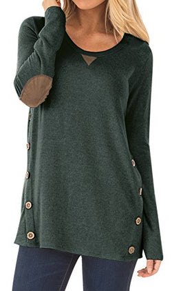 Womens Casual Cotton Solid Color Blouse with Buttons Long Sleeve Faux Suede Round Neck Tunic Tops Forest Green XL