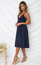 ECOWISH Womens Dresses Summer Tie Front V-Neck Spaghetti Strap Button Down A-Line Backless Swing Midi Dress Navy Blue L