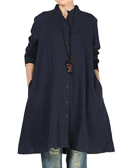 Mordenmiss Women's Cotton Linen Full Front Buttons Jacket Outfit Pockets Style 1 XL Navy